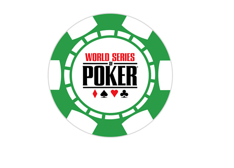 WSOP logo inside of a green chip - World Series of Poker