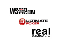 WSOP.com, Ultimate Poker and Real Gaming logos