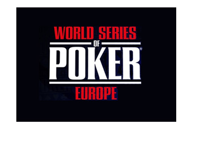 The World Series of Poker Europe - Logo on black background.