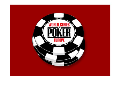 The World Series of Poker Europe chip logo on maroon background.