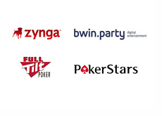 Zynga, Bwin.Party, Full Tilt Poker and Pokerstars logos