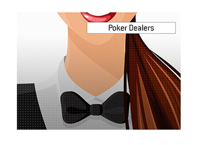 The illustration of a female poker dealer wearing a suit and a bow tie.