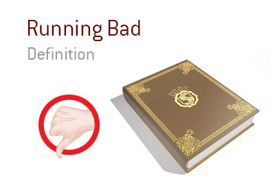 Definition and meaning of the term Running Bad in the game of poker.  Thumb down drawing.