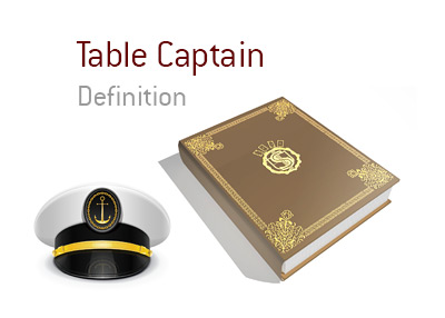 The King provides an explanation and an illustration to define the term Table Captain in the game of poker (in a brick and mortar casino)