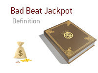 Definition of Bad Beat Jackpot - Poker Dictionary - Money Bag - Illustration