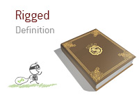 Definition of term Rigged - Poker Dictionary - Illustration of a thief running away with a bag of loot