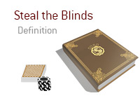Definition of Stealing the Blinds - Poker Dictionary - Card Stack and Coins - Illustration
