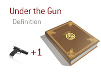 Definition of UTG + 1 - Unter the Gun plus one - Poker Dictionary - Illustration of a gun plus number one