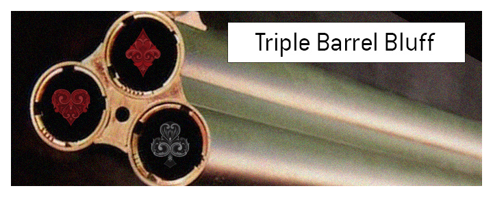 The meaning of Triple Barrel Bluff explained when it comes to the game of poker.  What is it and what are the examples of it?