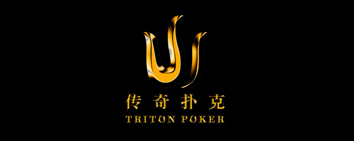 Triton Poker - Logo on black background.
