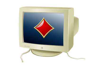 The first online poker room.  Featured on the 1988 type of a computer. Illustration.