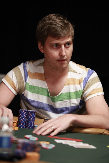 Erik Sagstrom at the World Series of Poker 2010 - In a striped shirt