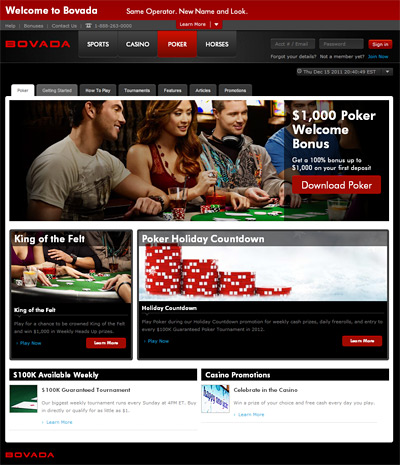 new bovada poker site