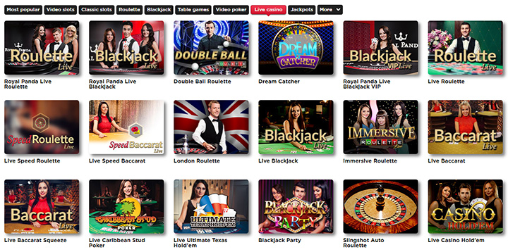 The Royal Panda Casino offers a variety of Live Games.  Everthing from blackjack to roulette.