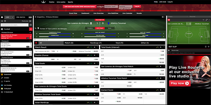 The Royal Panda sportsbook screenshot.  Bet on sports with the Panda.