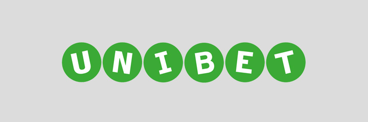 Unibet logo - White letters on green circles.  The background is non white.