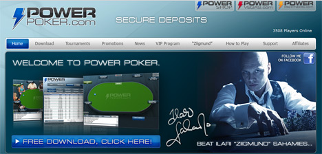 Website screenshot - Power Poker - Ziigmund on the home page